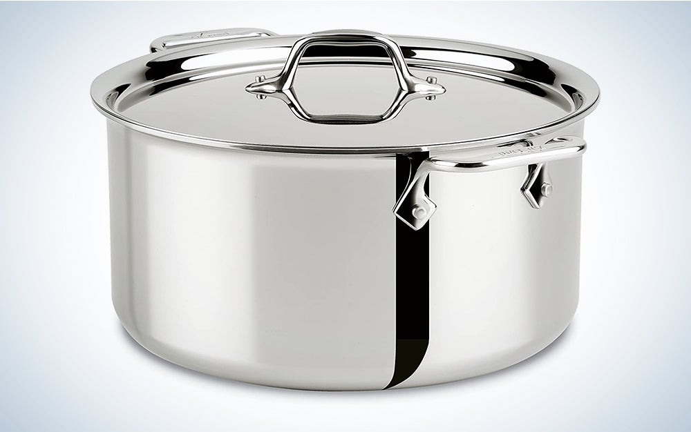 All-Clad 4508 Stainless Steel Tri-Ply Bonded Dishwasher Safe Stockpot with Lid/Cookware