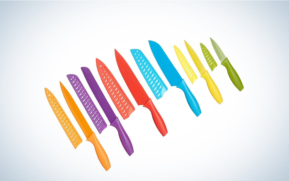 AmazonBasics 12-Piece Colored Kitchen Knife Set