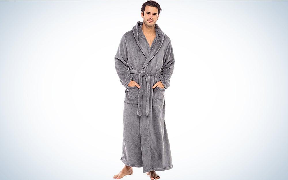 Alexander Del Rossa Men's Warm Flannel Fleece Robe with Hood