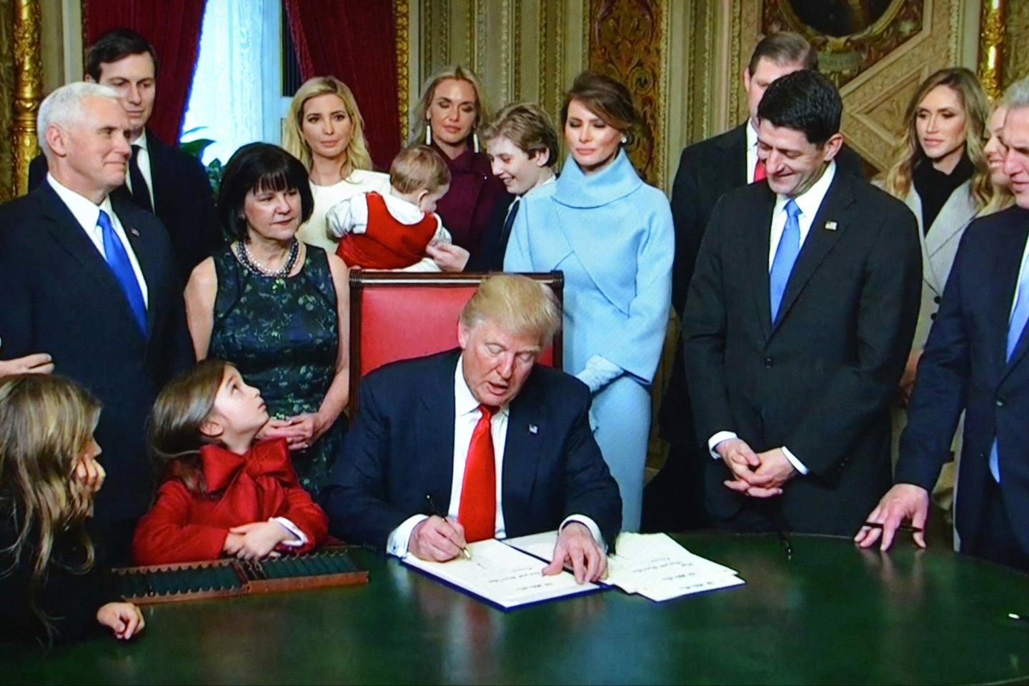 President Donald Trump signing an executive order in the White House in 2017