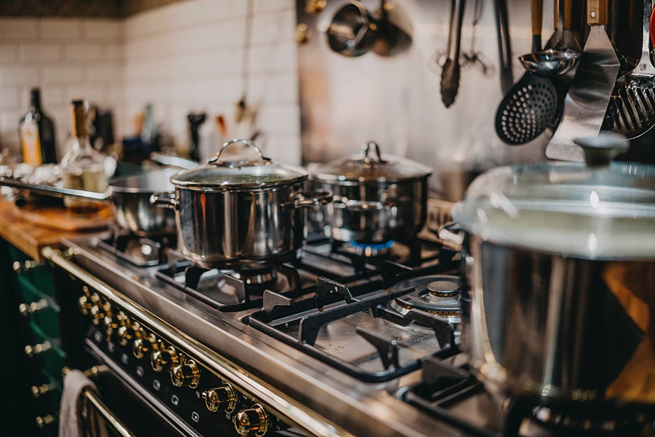 kitchen with pots and pans