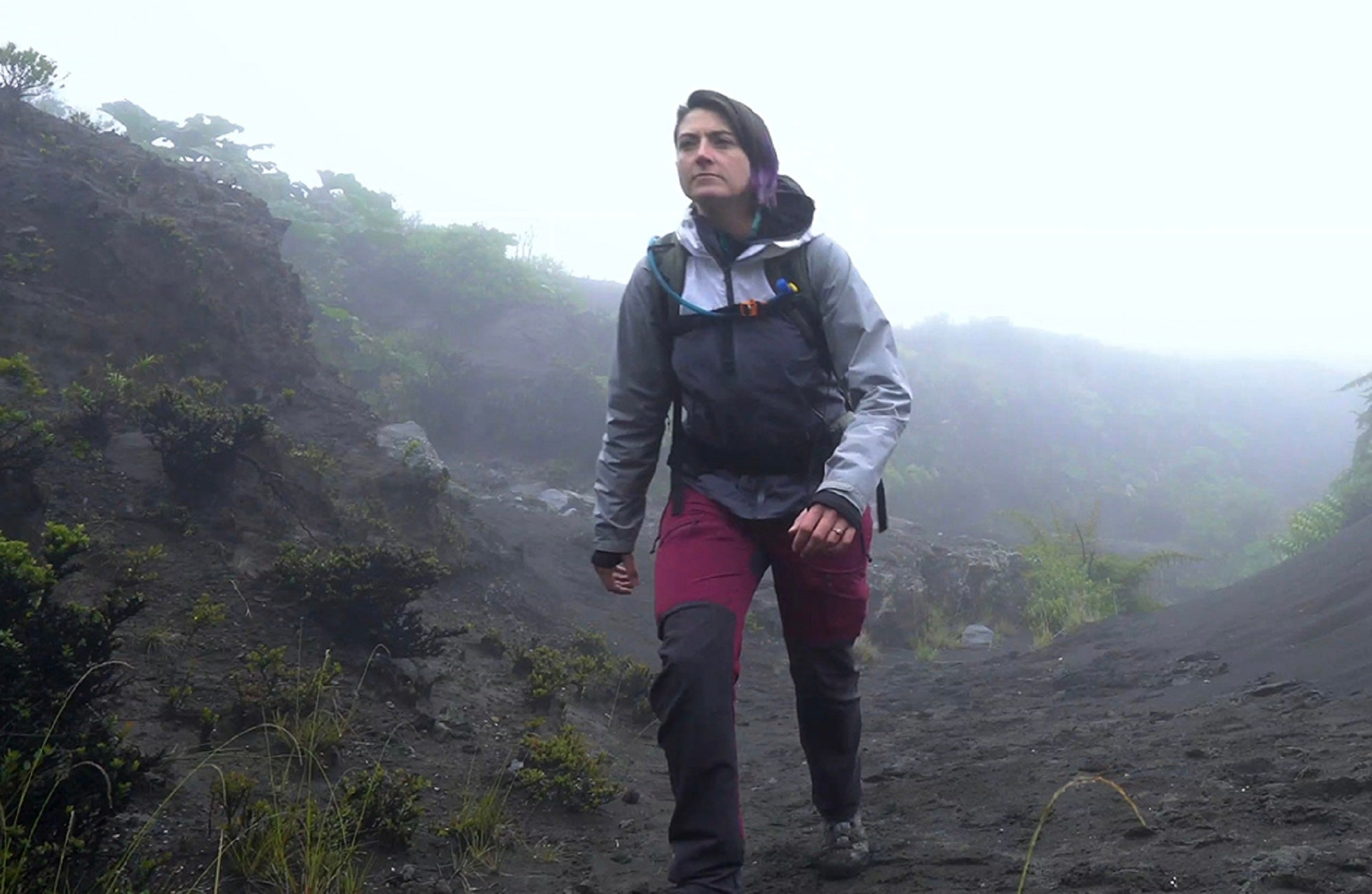 Kayla Iacovino hikes up a volcano as part of her NASA research