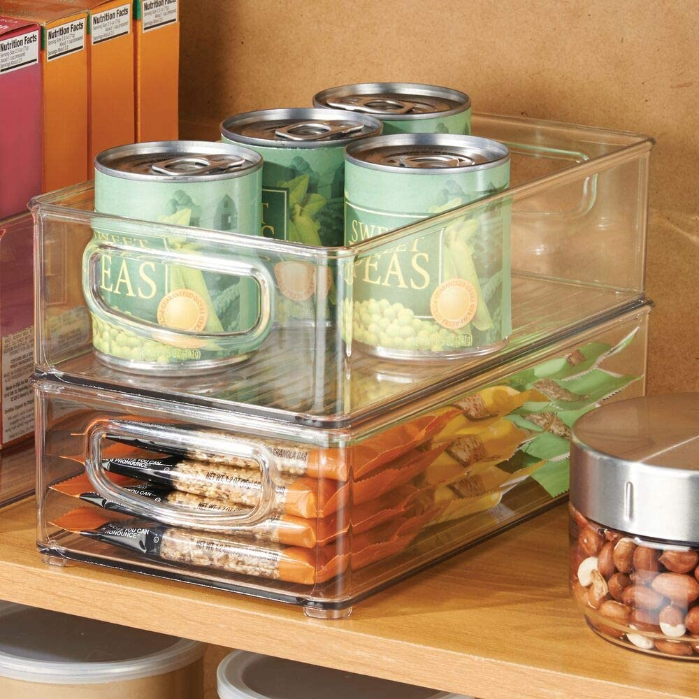 stacked bins in a pantry
