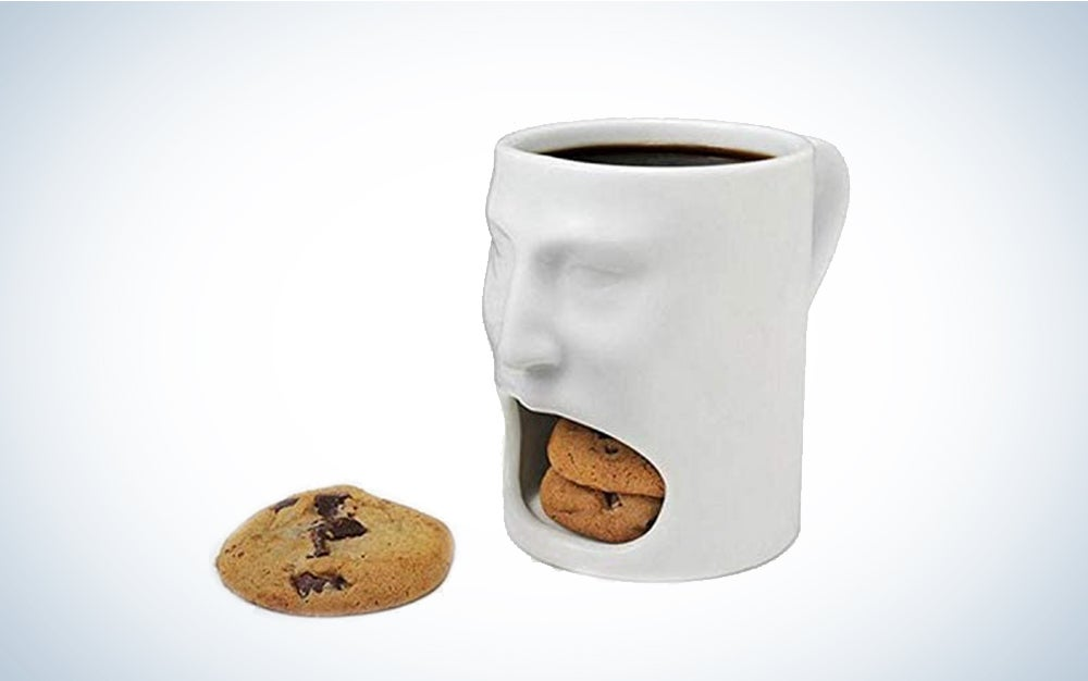 Face Coffee Mug with Double Cookie Biscuit Compartment