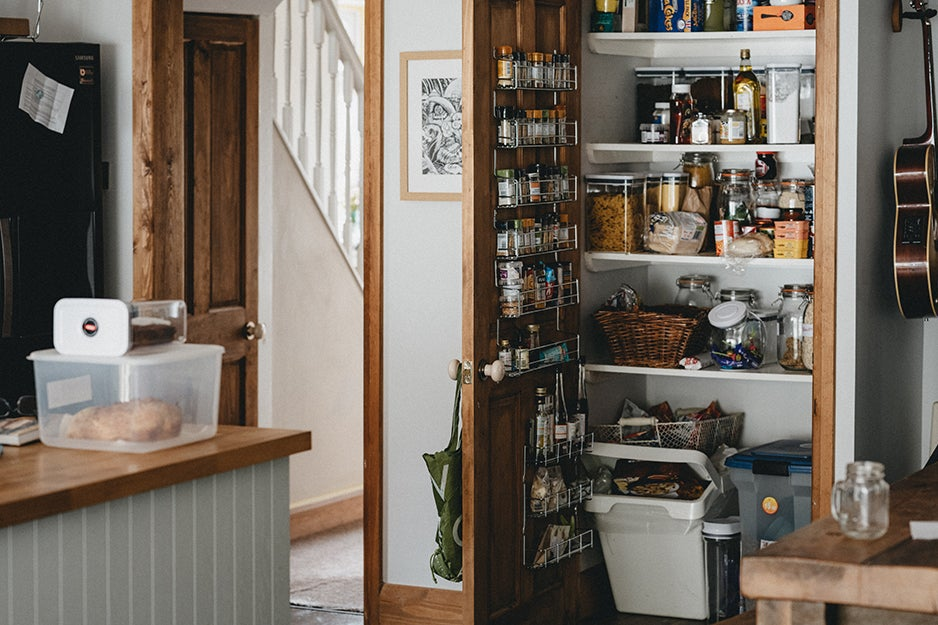 kitchen with pantry open