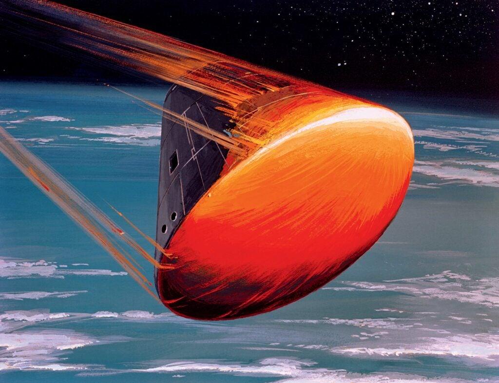Apollo CM reentering Earth's atmosphere.