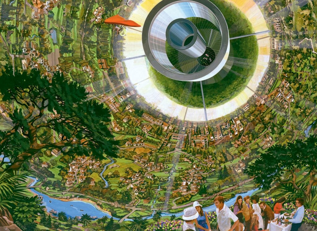 ARTIST: Rick Guidice Space Colonization; inside the sphere gravity is strongest along the equator. as on moves toward the center gravity lessens and one could fly easily. Sunlight enters as shown by the large fuzzy ring. The central tube connects to other sections of the colony.