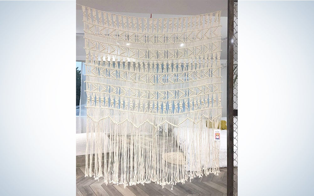 Flber Macrame Wall Hanging Boho-Inspired Touch Window Curtain