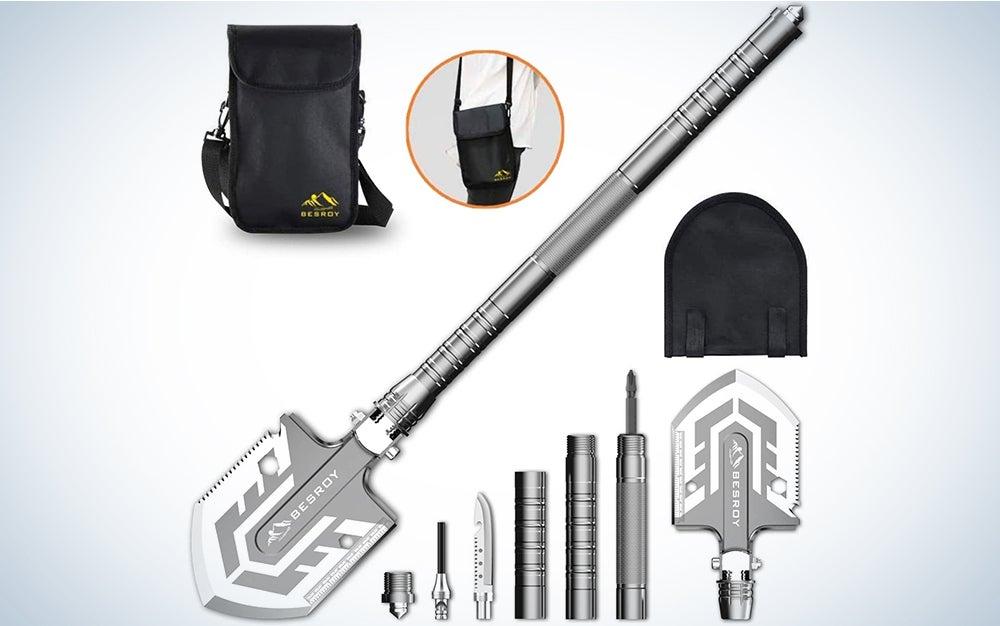 Folding Shovel Multitool-180 Degree Folding Shovel-Camping Shovels - 23 in 1 Survival Shovel Multifunctional