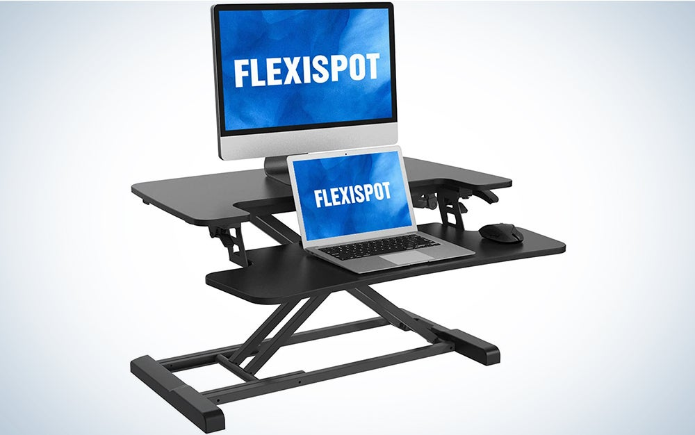 FLEXISPOT Stand Up Desk Converter 28 Inches Standing Desk Riser, Height Adjustable Home Office Desk with Deep Keyboard Tray for Laptop