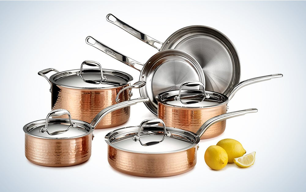 Lagostina Martellata Hammered Copper 18/10 Tri-Ply Stainless Steel Cookware Set