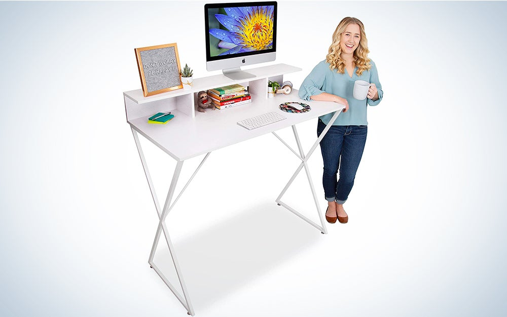 Stand Steady Joy Desk | Modern Standing Workstation with Storage Cubbies | Pretty Standing Desk w/Spacious Desktop | Multifunctional Table - Great for Home, Office & More (White Wood Grain