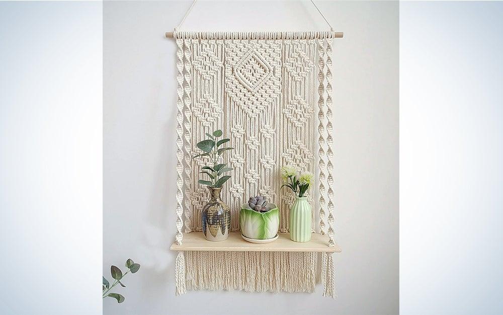 Handmade Macrame Wall Hanging Shelf Boho Indoor Rope Plant Hanger Holder Rope Plant Hanger