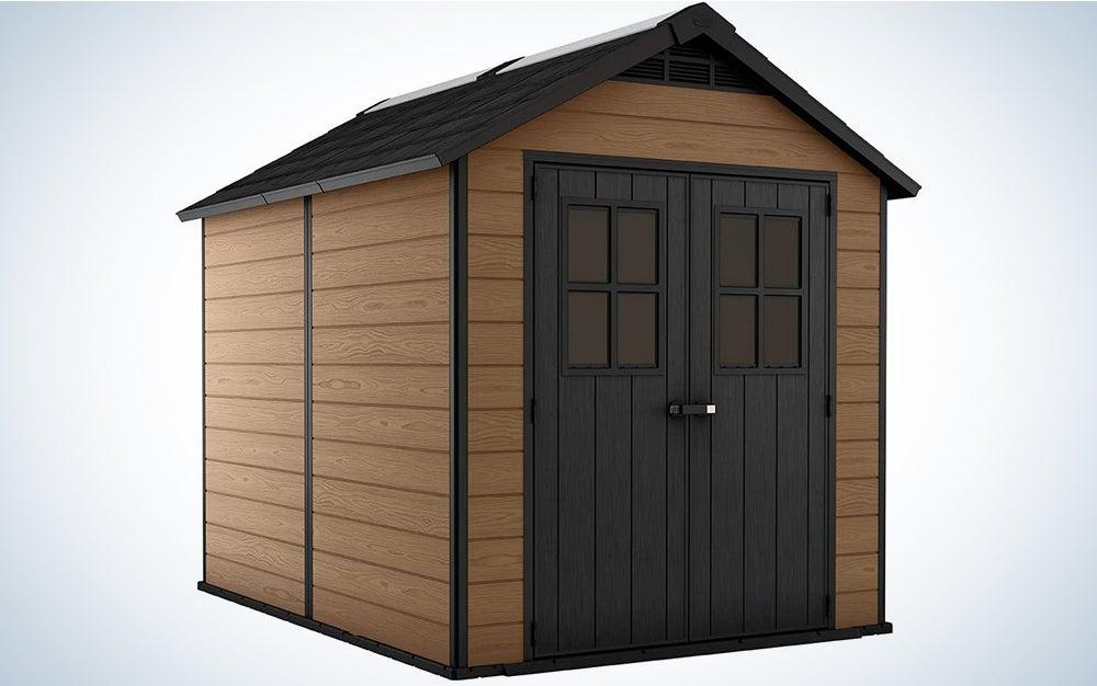 Keter Newton 7.5x9 Large Resin Outdoor Storage Shed Kit