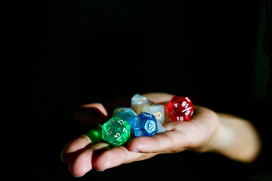 hand holding dice