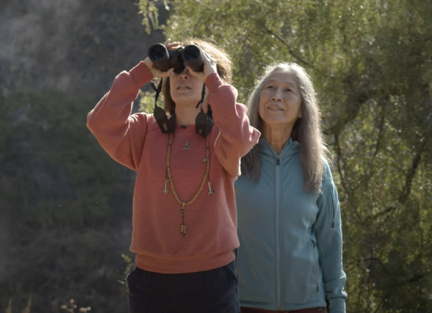 Paleontologist Jingmai O'Connor birding with her mother in China