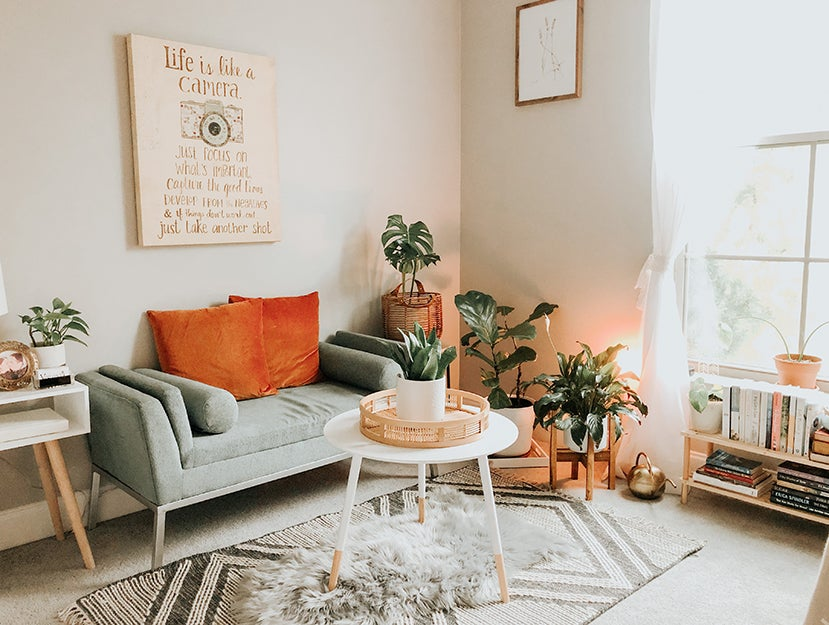 living room with a rug on the floor