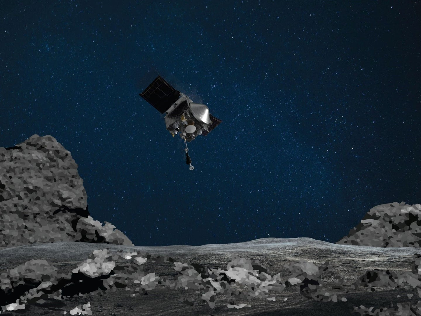 The spacecraft OSIRIS-REx in the sky over a rendering of the ground on asteroid Bennu