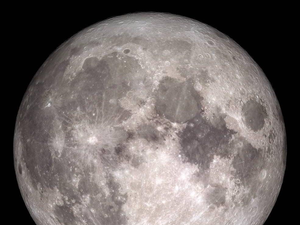 This image of the Moon was created with images taken by NASA's Lunar Reconnaissance Orbiter.