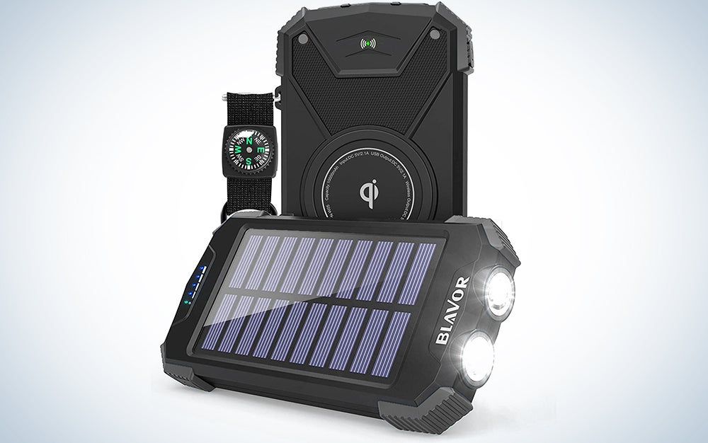 Blavor 10,000mAh Solar Power Bank With Qi Portable Charger