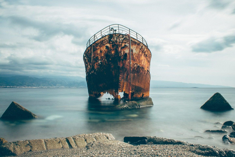 Shipwreck on shore