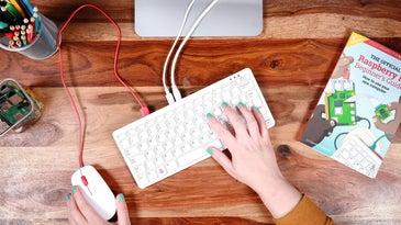 Raspberry Pi computer in a keyboard.
