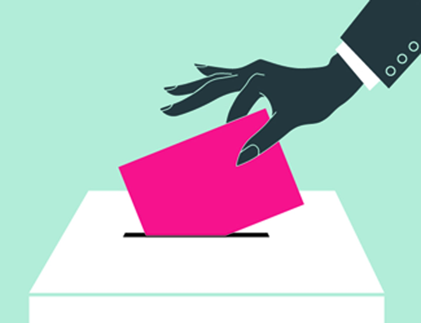 An illustration of a hand dropping a pink envelope into a box