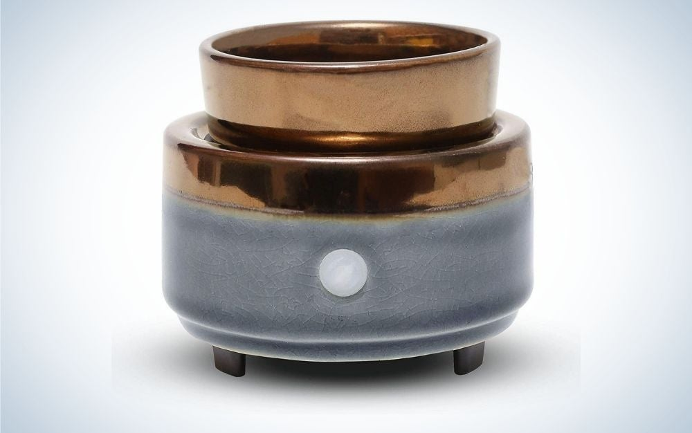 Gray and brown, ceramic candle warmer