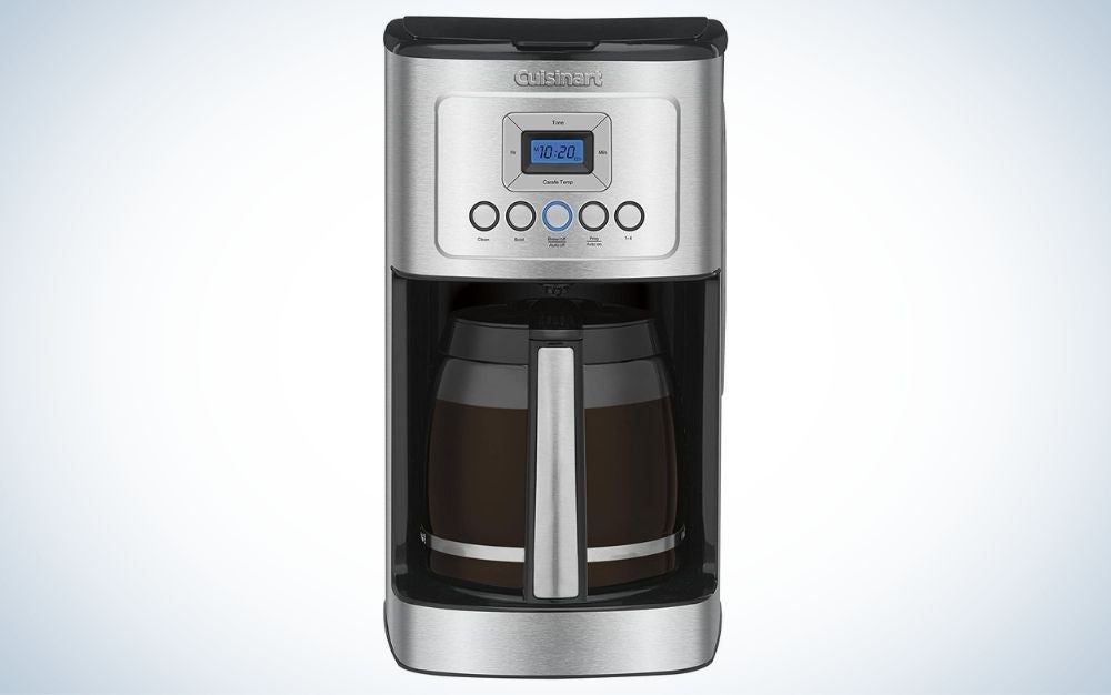 Stainless steel coffee maker with controlling buttons and glass carafe