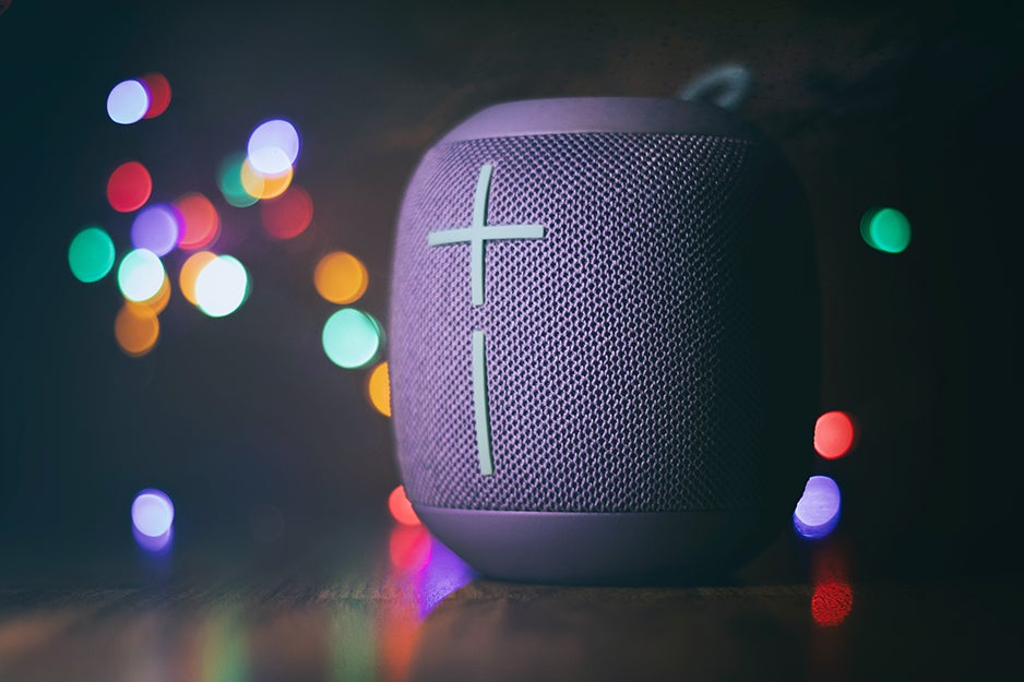 bluetooth speakers with colorful lights in the back