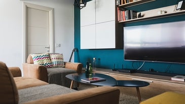 living room with TV, books, and guitar