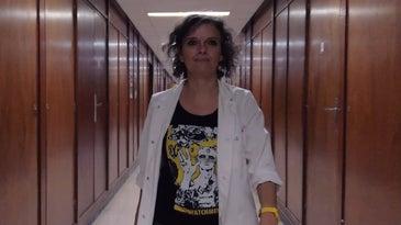 Audrey Dussutour walking through her lab at the Université Paul Sabatier in Toulouse in France