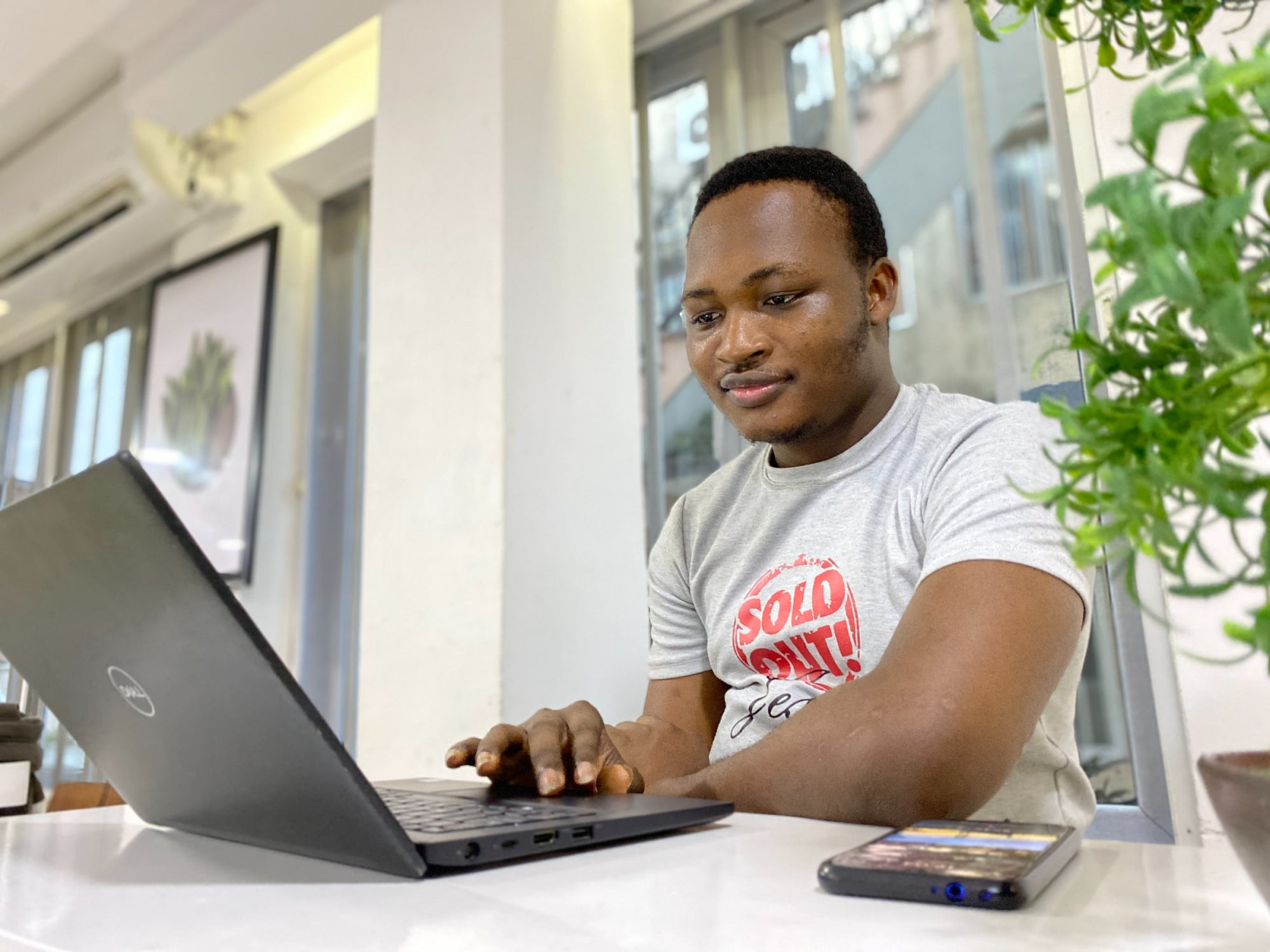 a person sitting at a Dell laptop in a well-lit room by some windows and a plant