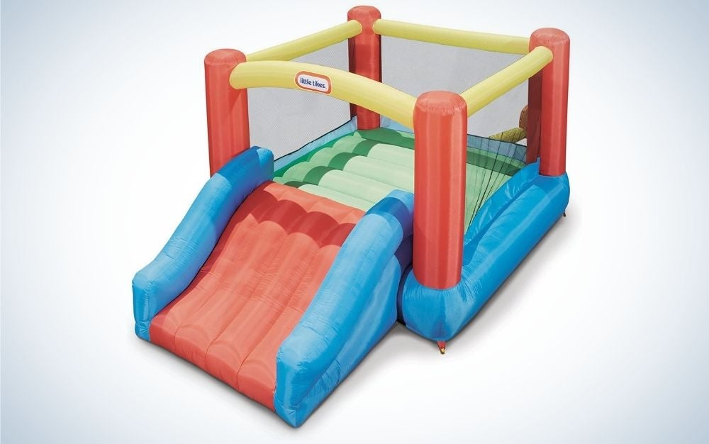 Square, colorful jumper and slider bounce house