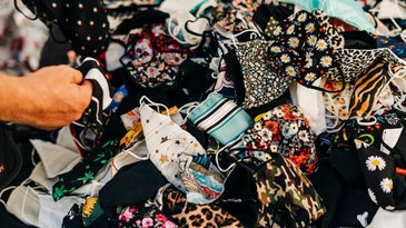 Pile of fabric masks.