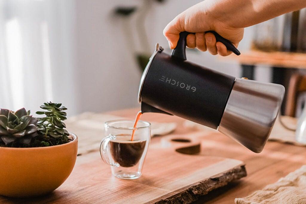 MILANO Stainless Steel Stovetop Espresso Maker (Black)