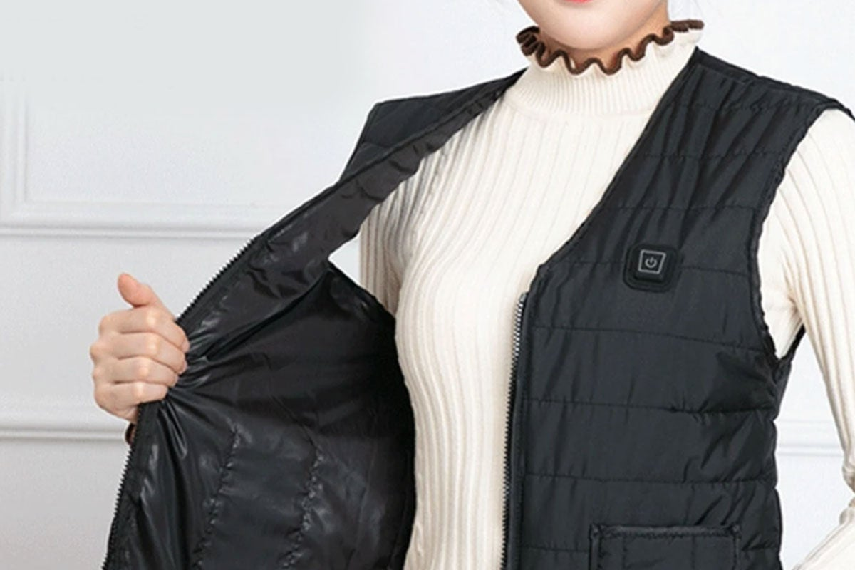 person wearing a heated vest