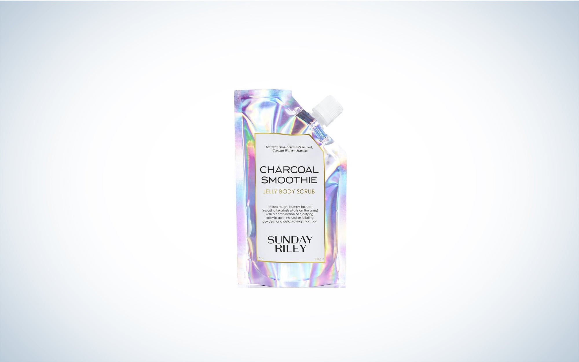 an iridescent pouch of body scrub