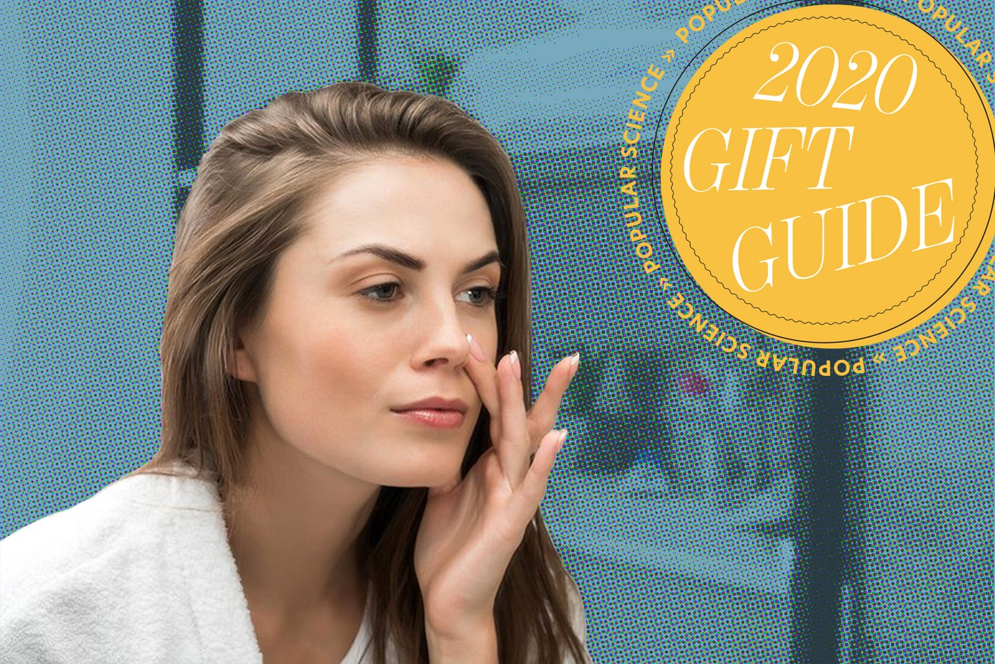 a woman applies skincare products