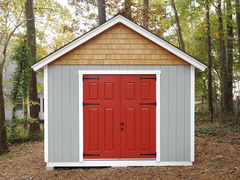 handmade exterior doors on a handmade shed