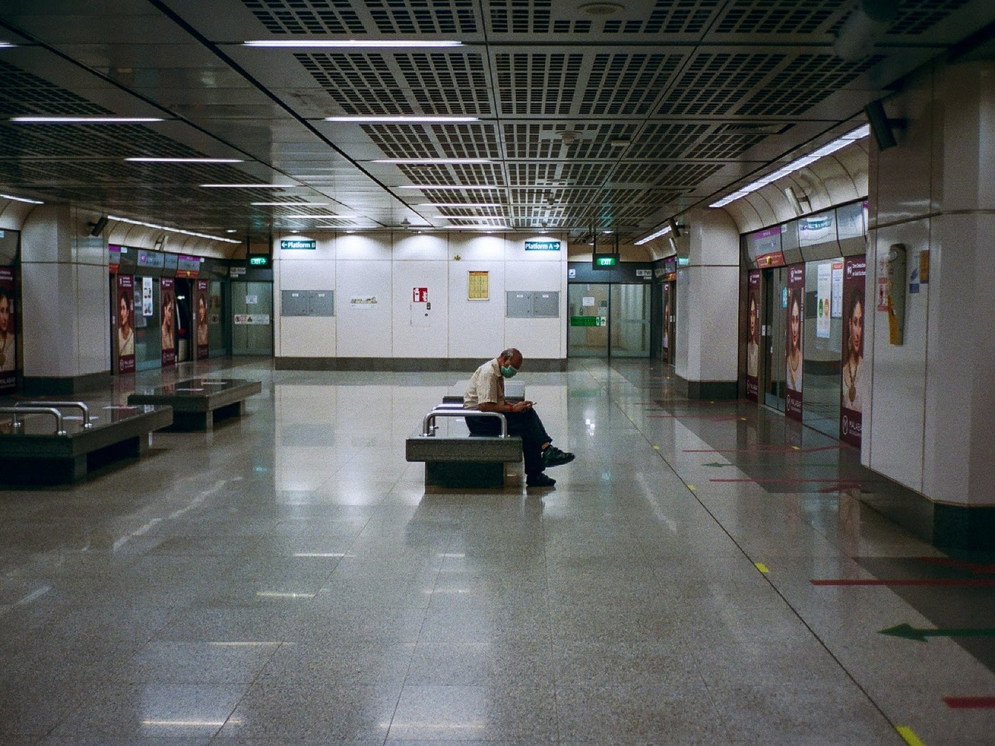 person alone traveling