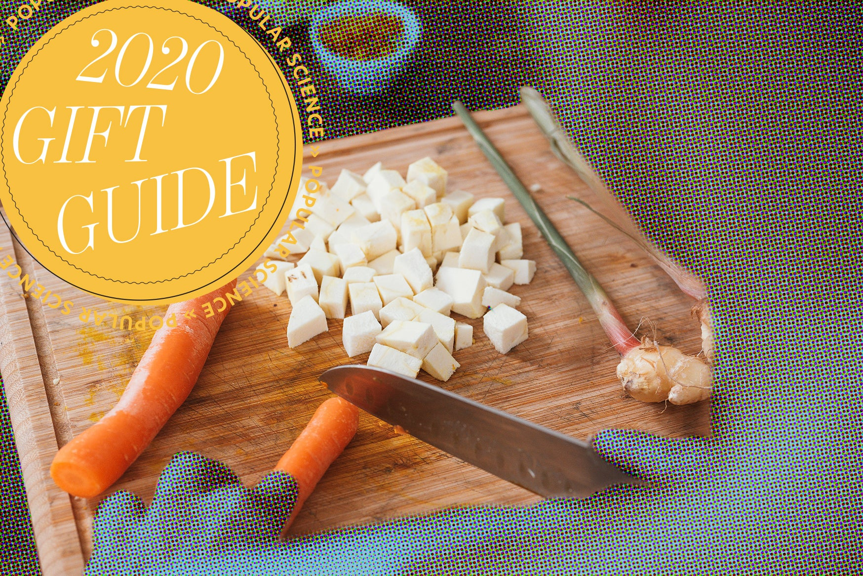 Chopping board with vegetables.