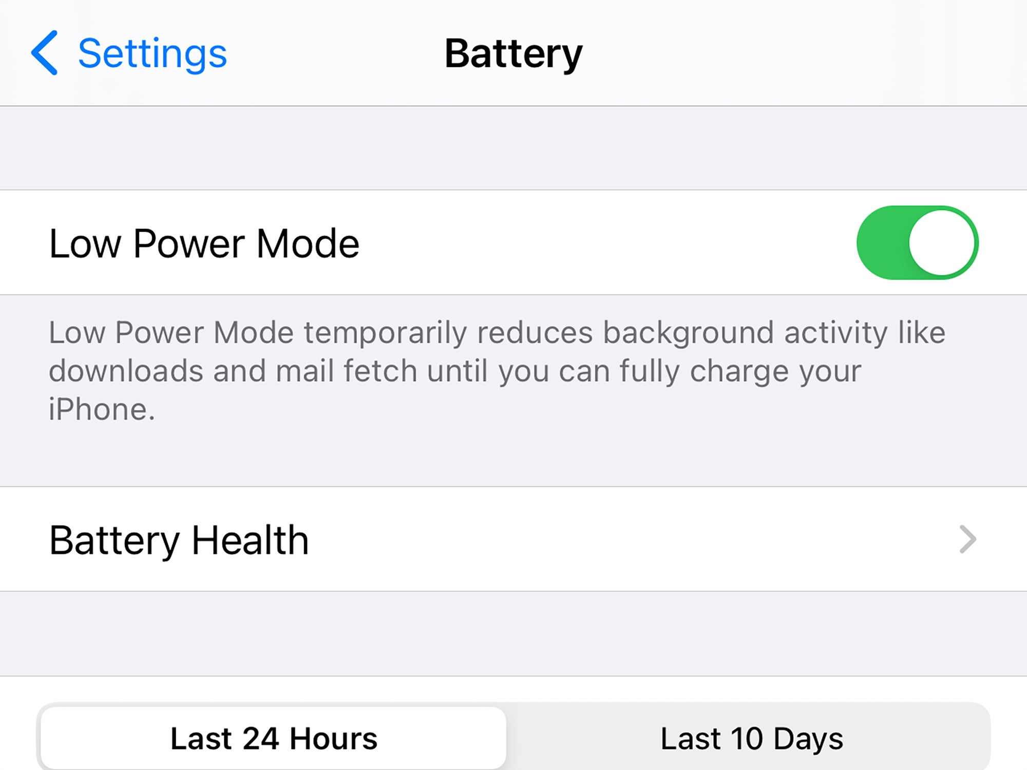 The Low Power Mode toggle switch in iOS on an iPhone.