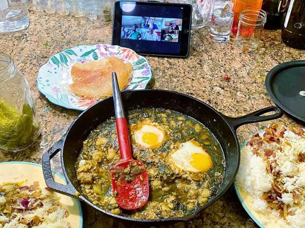 Remote learners make baghali ghatogh—Mab Abbasgholizadeh's spiced fava beans with dill and eggs—from the comfort of their own kitchens.