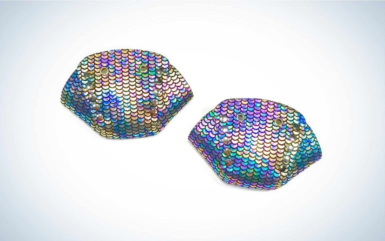 A pair of curved fabric toe-covers in holographic purple print