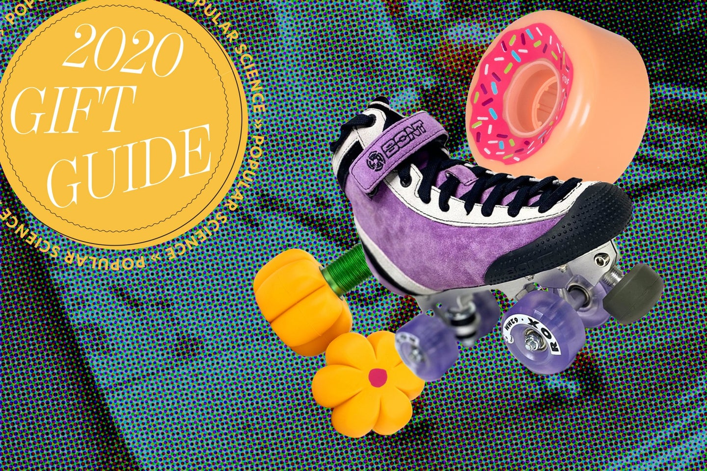 """A skate, flower-shaped toe stops, and a wheel painted like a donut sit next to a logo that reads """"2020 gift guide"""""""