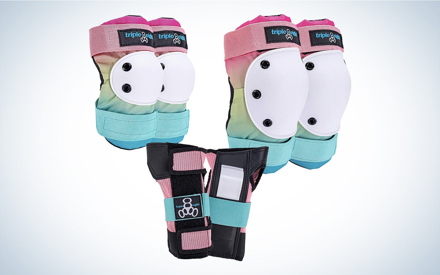 a set of protective pads in pastel rainbow colors