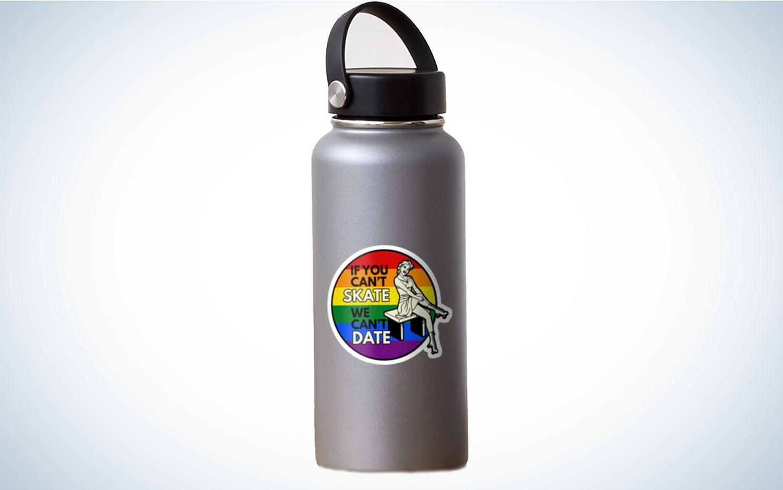 a rainbow sticker that says