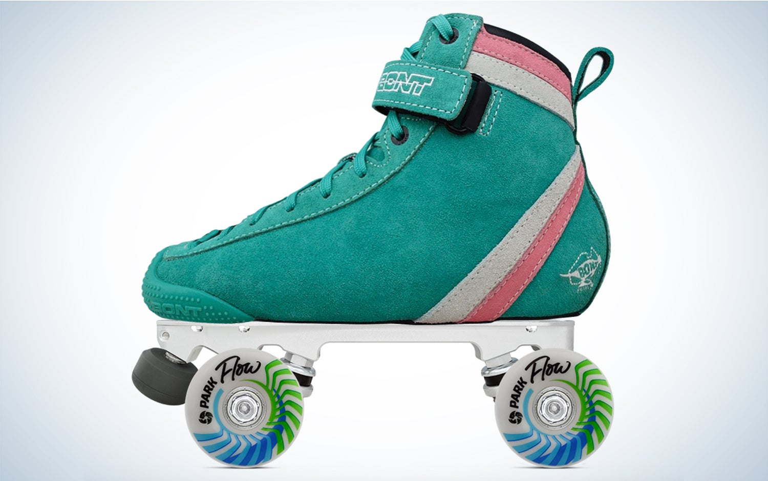 a teal, pink, and white suede skate