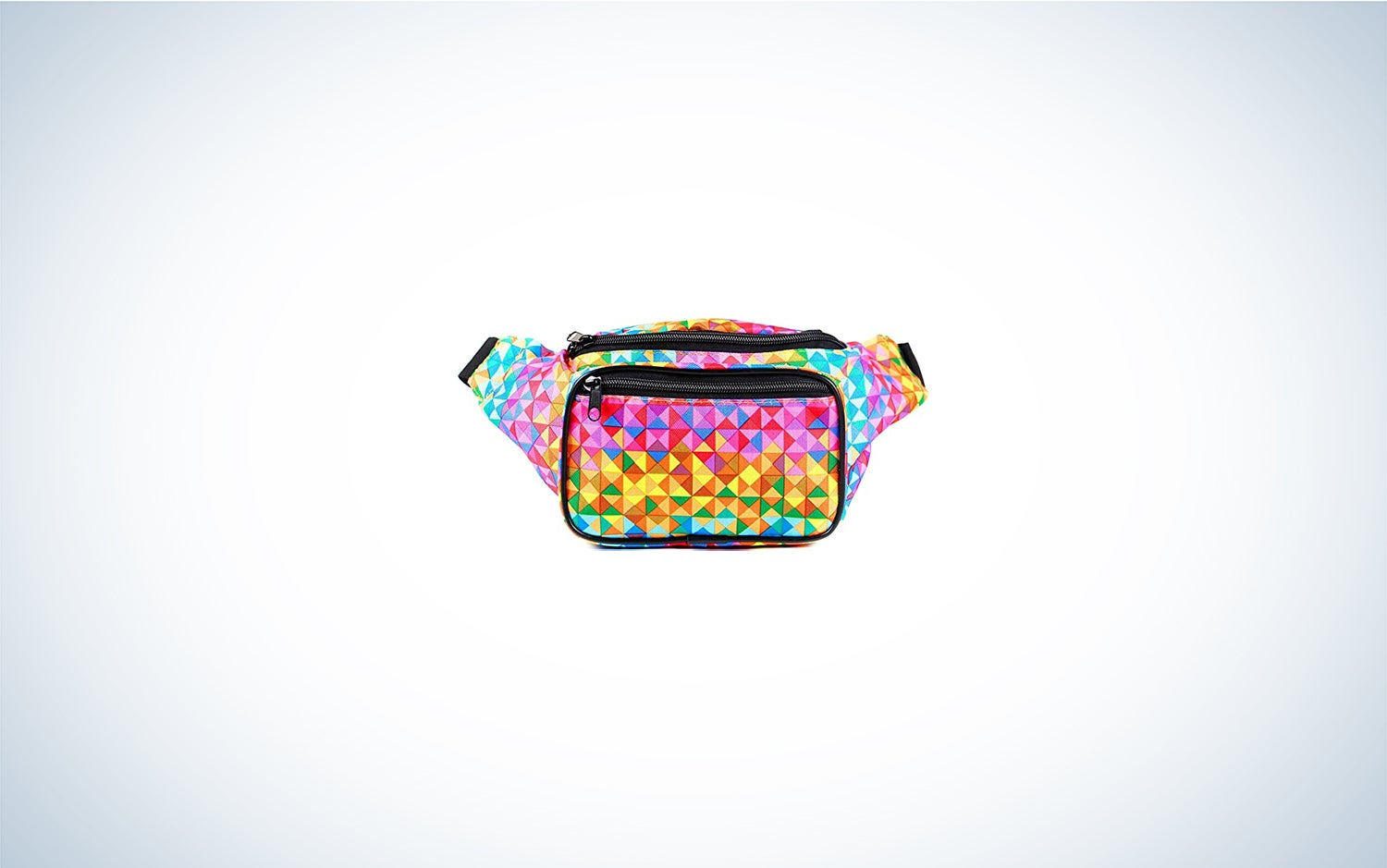 a rainbow-colored fanny pack